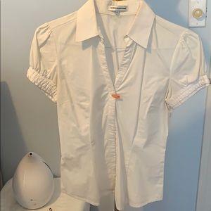Short Sleeve White Button Down w Buckle Detail